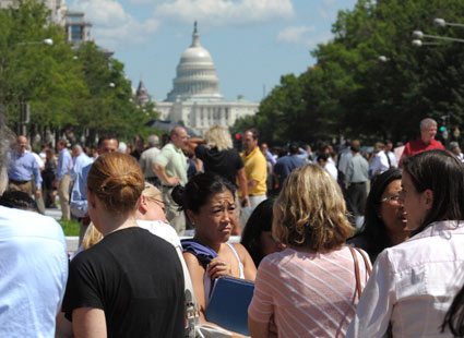 People scared in Washington, D.C., after East Coast Earthquake on August 23, 2011