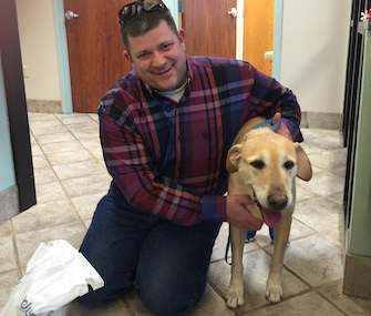 Brodie the Lab was missing for more than a year before being reunited with Troy Petersen on Christmas Eve.