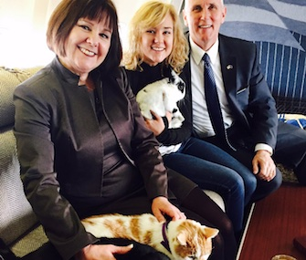 The Pence family brought their two cats and bunny on their flight from Indiana to Washington.