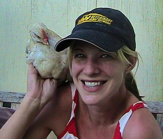 Dr. Patty Khuly and her chicken
