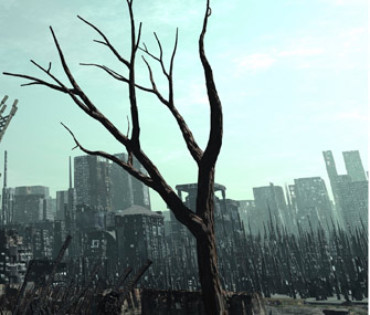 city skyline with dead trees