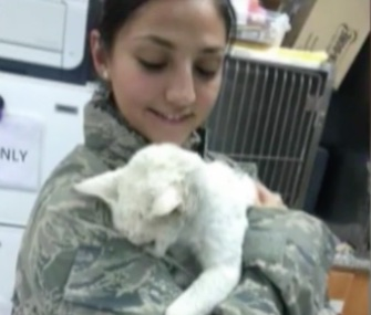 U.S. Air Forces Senior Airman Seray Aksoy has been reunited with Marcus, the cat she befriended in Kuwait.