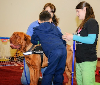Atlas, a specially trained therapy dog, helps Johnathan Ingersoll stand during a therapy session.