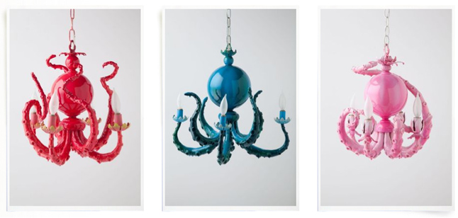 colorful octopus chandeliers