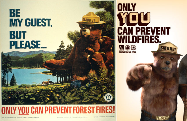 Smokey bear posters from 1967 and 2011.