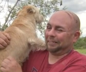 Andy Bouchillon had an emotional reunion with his dog Tater Tuesday in Texas.