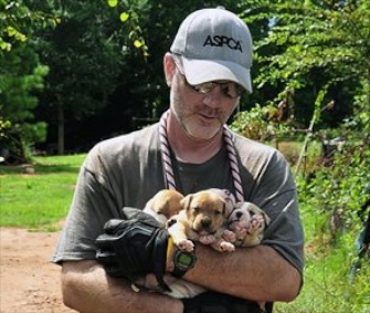 An official carries puppies who were rescued from a home in Alabama.