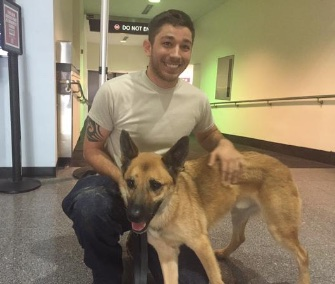 Ranger was reunited with Army Specialist John Nyerghes in Cleveland, Ohio, Tuesday.