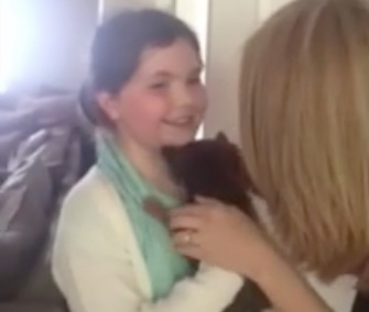 Eight-year-old Lexie Taylor had a surprise reunion with her stolen puppy, Caramel.