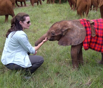Actress Kristin Davis with Ajuba, the baby elephant she adopted.